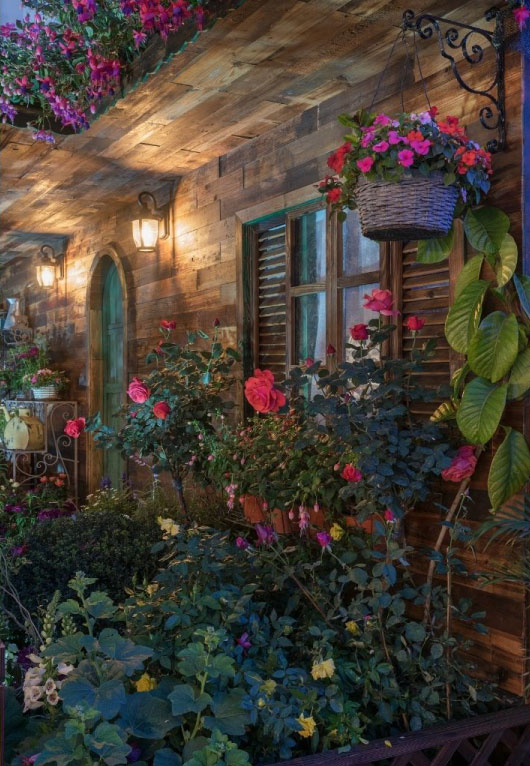 House with a backyard of flowers